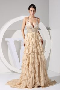 Embroidery Decorated Bodice Brush Train Champagne Ruffled Homecoming Queen Dresses