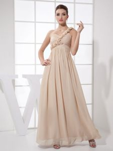 Flowery Ruched Champagne One Shoulder Ankle-length Homecoming Dress in Newcastle