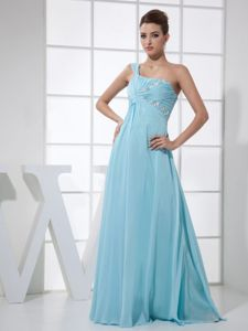 light Blue One Shoulder Beaded and Ruched Empire Floor-length Homecoming Dresses