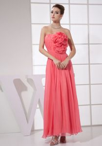 Ankle-length Handmade Flowery Watermelon Ruched Homecoming Dresses in Lenflewshire
