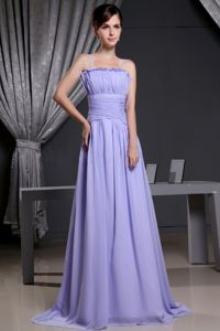 Lilac Spaghetti Straps Ruched Floor-length Homecoming Princess Dresses in Summer