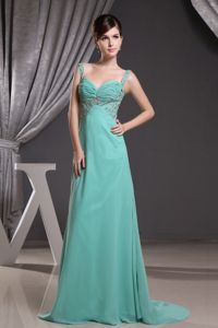 Brush Train Straps Vintage Homecoming Dresses With Beading and Ruches in Turquoise