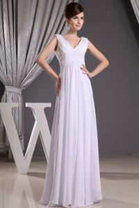 White V-neck Beaded and Ruched Long Inexpensive Homecoming Dresses in Oxford