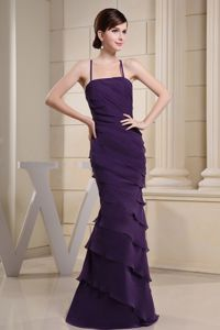 Spaghetti Straps Ruched Column Purple and Ruffled Homecoming Dresses For Juniors