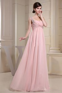 Beaded One Shoulder and Ruched Bodice For Baby Pink Designer Homecoming Dresses