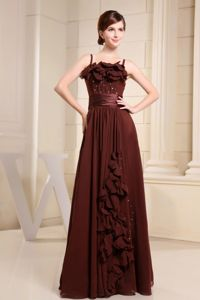 Brown Straps Long Homecoming Dance Dresses With Handmade Flowers and Beading