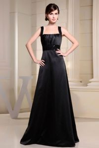 A-line Ruched Floor-length Straps Black Homecoming Queen Dresses with Belt