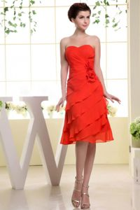 Orange Flowery Tea-length Sweetheart Ruffled Homecoming Dresses For Prom