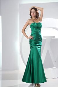 Green Mermaid Strapless Taffeta Ruched Ankle-length Cute Homecoming Dresses