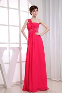 One Shoulder Chiffon Hot Pink Empire Homecoming Dance Dress with Floor-length