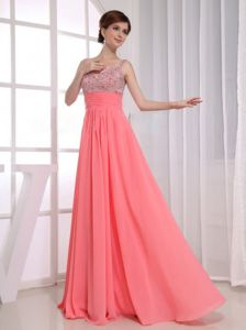 Straps Beaded Bust Empire Watermelon Floor-length Homecoming Dresses On Sale