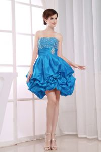 Beaded A-Line Strapless Aqua Blue Sparkly Homecoming Dresses with Pick-ups