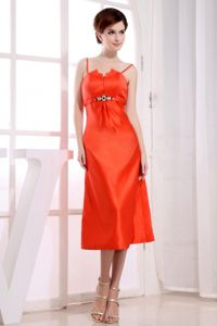 Spaghetti Straps Tea-length Column Orange Red Junior Homecoming Dresses