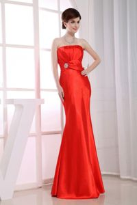 Mermaid Strapless Floor-length Red Homecoming Dresses On Sale with Beading