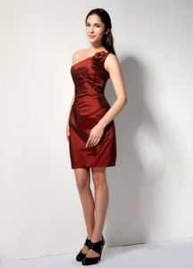 Rust Red Column One Shoulder Short Handmade Flowery Cute Homecoming Dresses