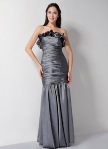 Column Strapless Grey Ruched Floor-length Inexpensive Homecoming Dresses
