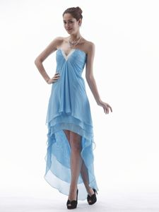 Light Blue High-low V-neck Beaded Chiffon Homecoming Dresses For Juniors