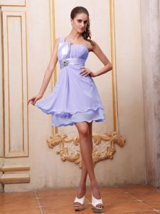 Lilac One Shoulder Beaded Homecoming Dresses on Sale in Columbus
