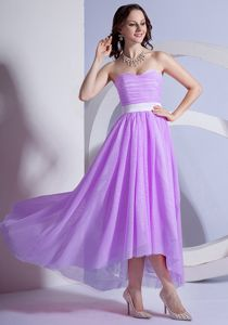 Sweetheart Ruched Chiffon Spain Designer Homecoming Dresses in Purple