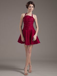 Halter top Wine Red Beaded Vintage Homecoming Dresses with Ruches