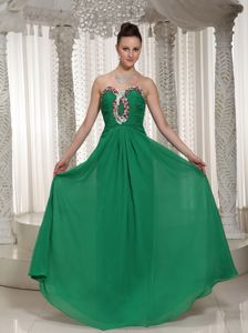 Green Sweetheart Beaded and Ruched Homecoming Dresses in Lincoln