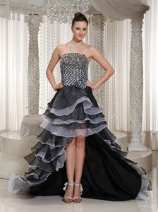 High-Low Strapless Spain Homecoming Princess Dresses with Flowers