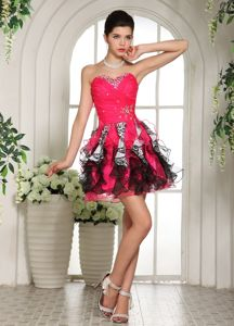 Dressy Beaded Sweetheart Mini-length Organza Homecoming Queen Dresses
