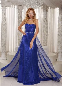 Elegant Royal Blue Chiffon Sheath Homecoming Dresses with Paillettes