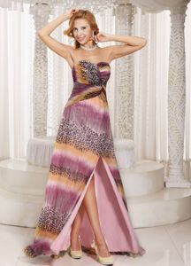 Milti-color High Slit Short Homecoming Dresses with Watteau Train