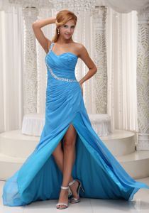 Baby Blue One Shoulder Chiffon Homecoming Dresses on Sale in Sweden