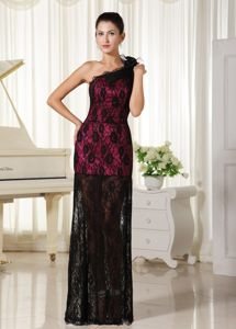 Beaded and Ruched Column Lace Honolulu Homecoming Dress for Juniors