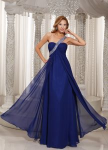 One Shoulder Beaded and Ruched Inexpensive USA Homecoming Dresses