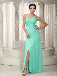 Apple Green Beaded Chiffon Designer Homecoming Dresses in Lawrence
