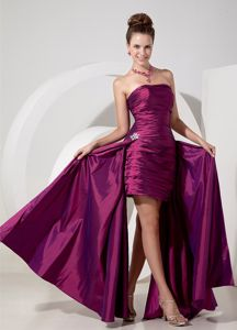 Fuchsia Ruched Column Long Vintage Homecoming Dresses with Appliques