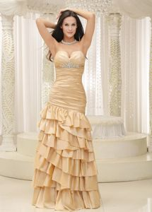 Sweetheart Champagne Lace-up Homecoming Court Dresses with Beading