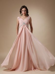 Elegant Baby Pink Beaded Chiffon Homecoming Queen Dresses in Addison