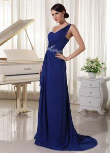Royal Blue One Shoulder Chiffon Zipper-up Homecoming Dress for Prom
