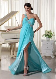 Blue One shoulder Chiffon Party Dress for Homecoming with Brush Train