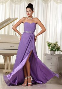 Lilac High Slit Beaded Chiffon Empire Homecoming Dresses in Hanover