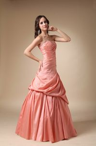 Watermelon Red Taffeta Lace-up Beaded Long Concord Homecoming Dresses