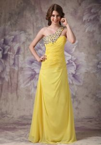 Yellow One Shoulder Ruched Homecoming Dresses with Beading in Lincoln