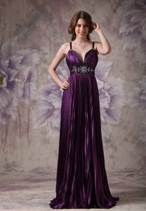 Purple Spaghetti Beaded Long Homecoming Dresses for Juniors in Chicago