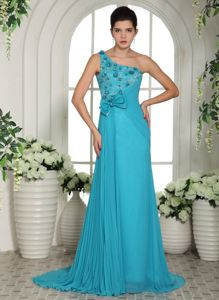 One shoulder Ruched Junior Homecoming Dresses with Flowers in Lawrence