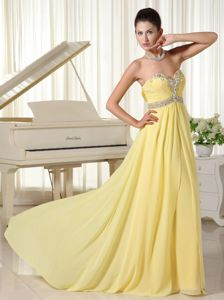 Yellow Beaded Chiffon Homecoming Court Dresses with Ruches in Manhattan