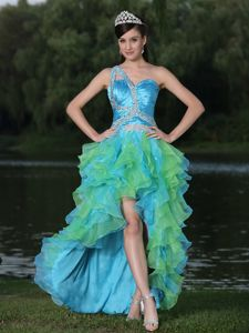 High-low Beaded Multi-color Organza Homecoming Cocktail Dress in Moscow