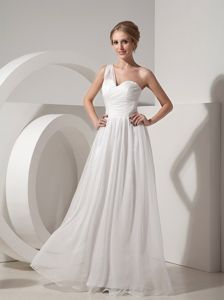 One Shoulder Elegant White Ruched Organza Homecoming Dresses for Prom