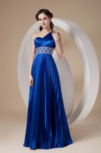 Royal Blue One Shoulder Beaded Homecoming Dresses with Pleats in Addison
