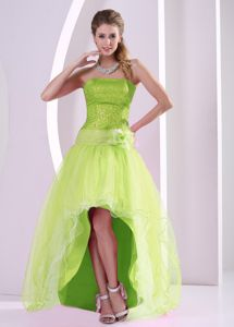 Manhattan High-low Yellow Green Homecoming Dress for Juniors with Sequins