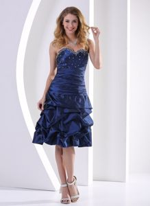 Navy Blue Sweetheart Beaded Knee-length Sparkly Homecoming Dress in Spain
