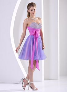 Chicago Multi-color Lace-up Beaded Designer Homecoming Dresses with Sash
